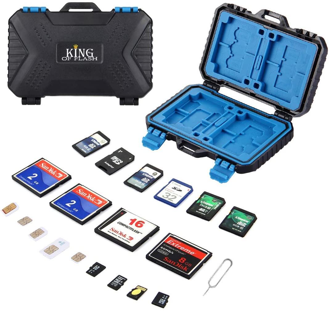 King of Flash 26 Slot SD Card Holder Memory Card Case - Storage for 4 CF + 8 SD + 9 Micro SD + 1 Standard SIM + 2 Micro SIM + 2 Nano SIM + 1 Sim Removal Tool