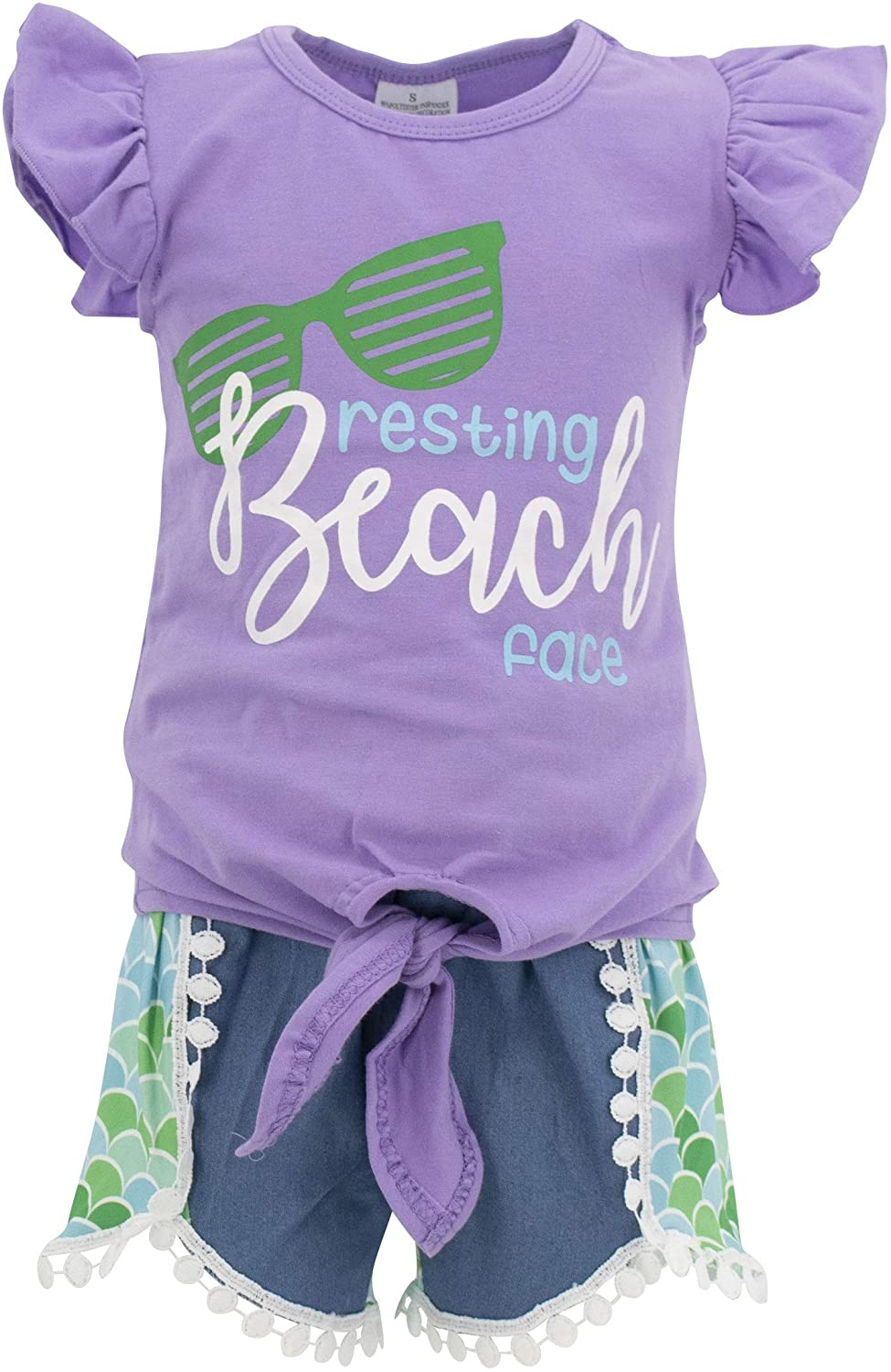 Unique Baby Girls Resting Beach Face Summer Short Set Mermaid Outfit