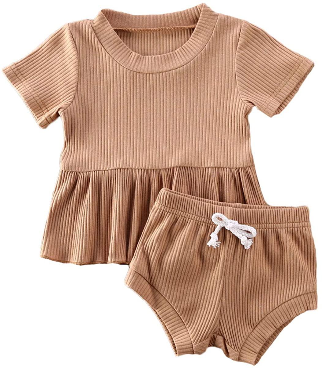 Toddler Baby Girls Ribbed Cotton Ruffled Shirts Tops + High Waisted Shorts Pants Baby Girl Clothes Set