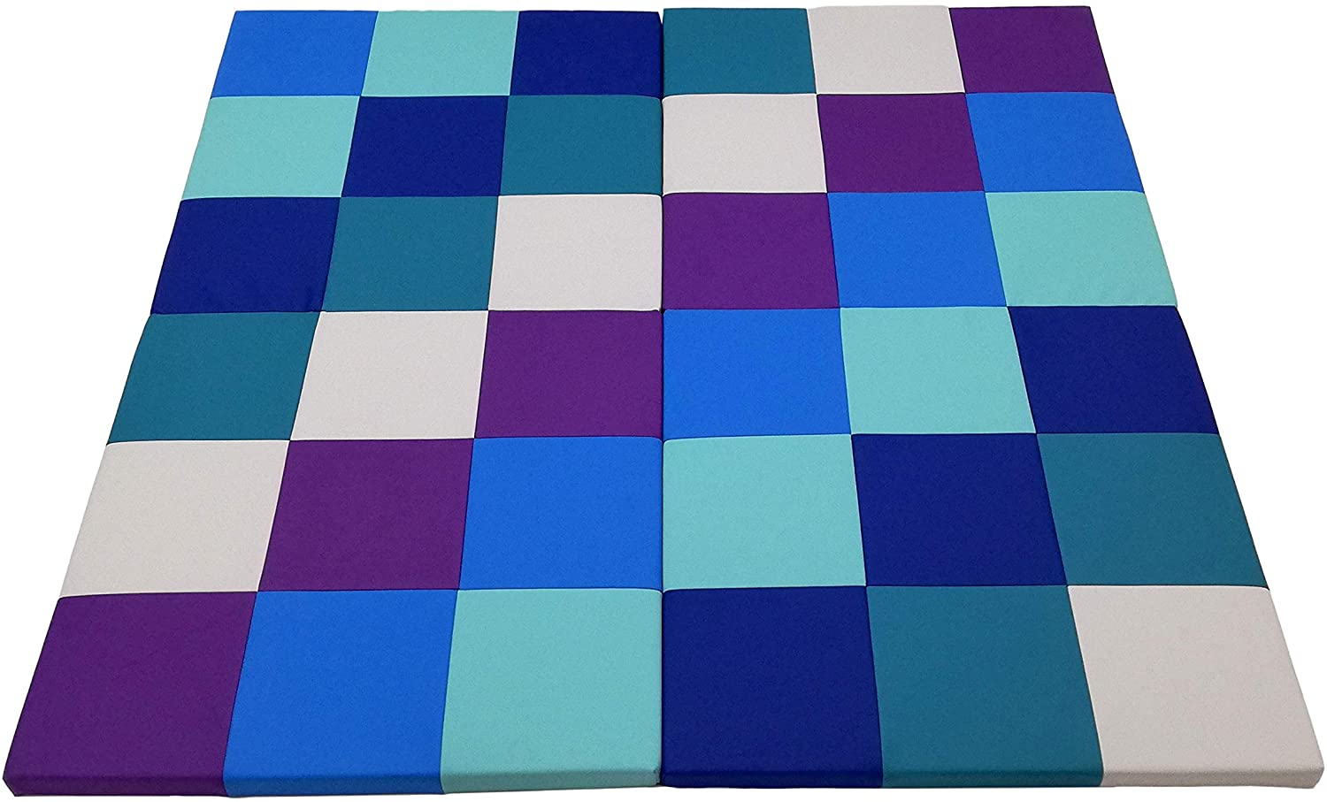 FDP Softscape Playtime Space Saver 4-Section Folding Activity Mat for Infants and Toddlers, Tummy Time for Babies, Soft Foam Colorful Play in Home, Daycare or Preschool - Contemporary/Purple