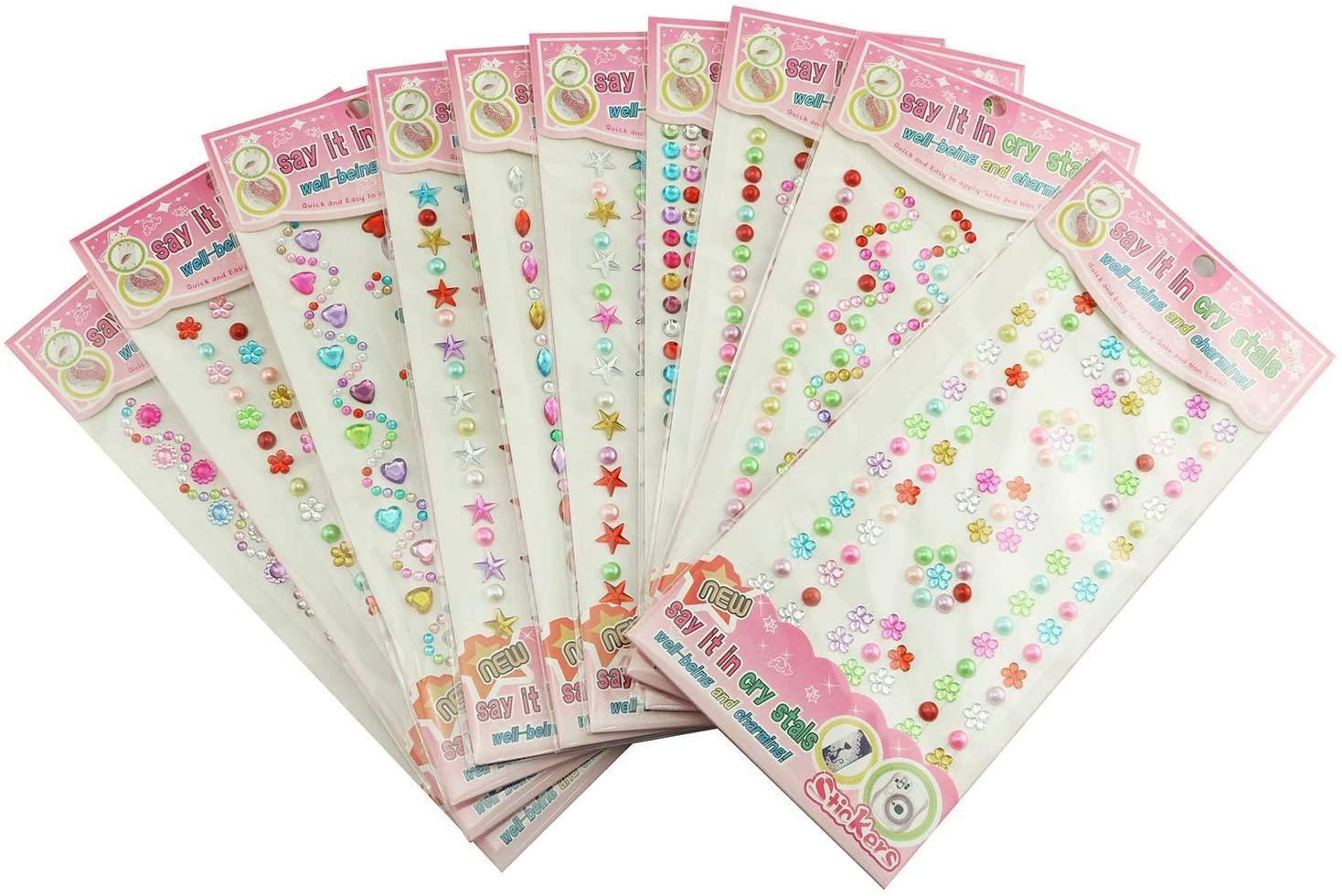 Tegg Jewels Crystal Gem Stickers 10 Sheet Colorful Bling Self-Adhesive Rhinestone Sticker