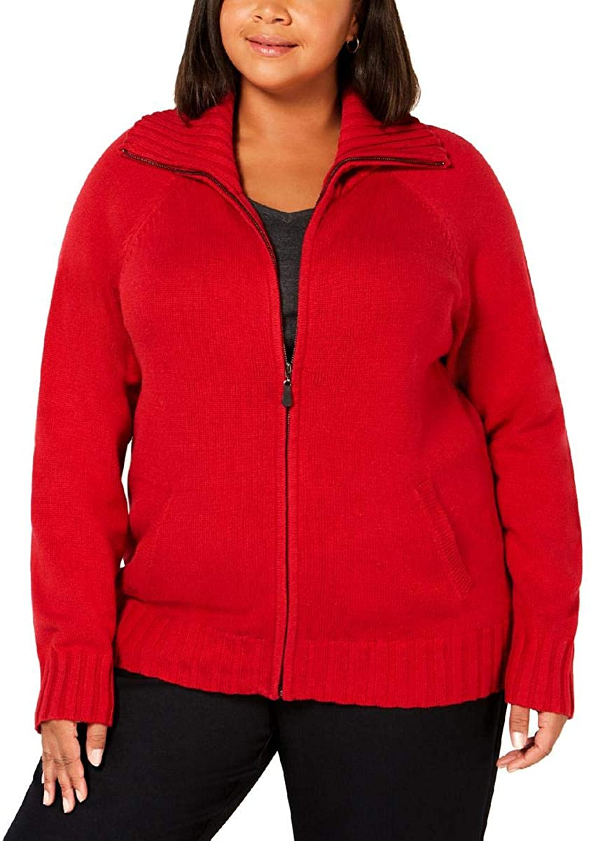 Karen Scott Womens Wing-Collar Knit Sweater