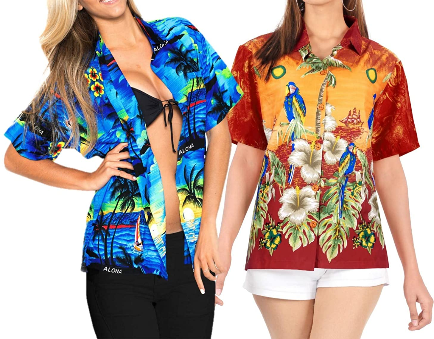 LA LEELA Women's Plus Size Hawaii Aloha Dress Shirt for Casual Wear M Work from Home Clothes Women Blouse Pack of 2