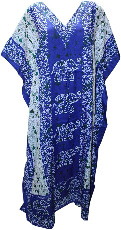 Odishabazaar Womens Plus Size Boho Hippie Floral Print Kaftan Dress Dori On Waist (Mutli-3)