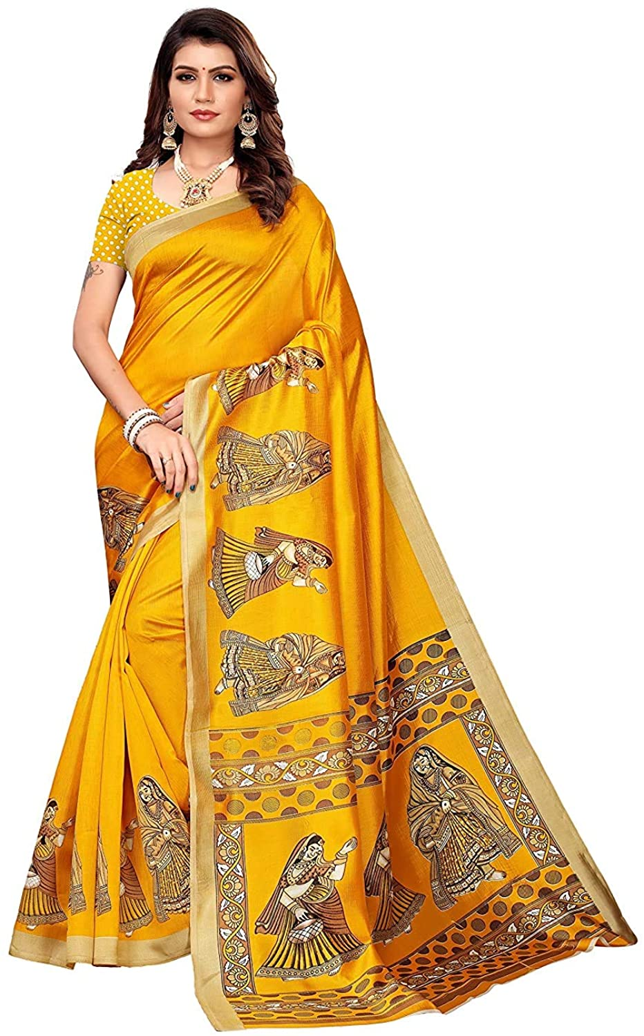 Silk with Blouse Piece Saree (Gopi Yellow IND Free Size)