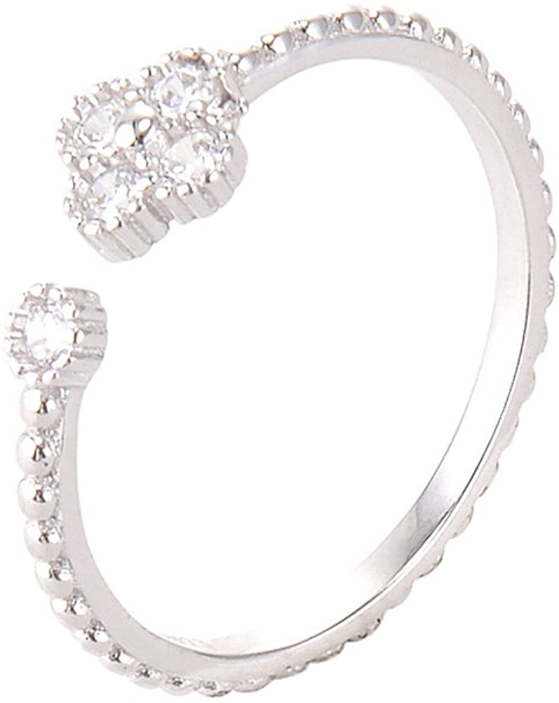 Chiconon S925 Silver Wedding Engagement Open Ring Four Leaf Clover Ring for Women White