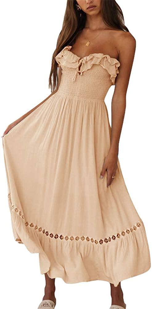 BOCOTUBE Womens Summer Sleeveless Strapless Ruffle Off The Shoulder Swing Cocktail Party Dress