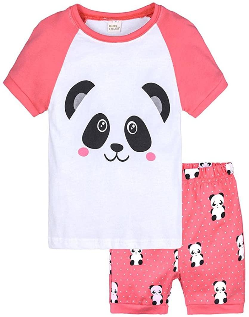 WARMSHOP Girls Pajamas Sets Shorts Sleepwears Cartoon Panda Pattern O-Neck T-Shirt+Elastic Shorts Soft Casual Home Short Sets