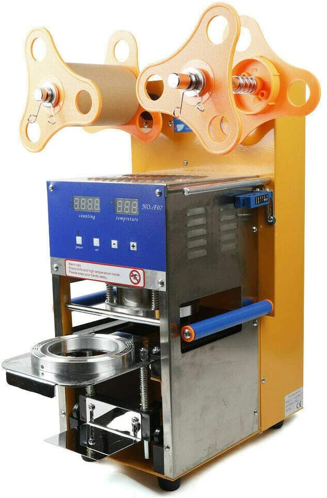 Automatic/Manual Cup Sealer Machine 14-20oz. Electric Cup Sealing Machine 500-650 cups/h With Digital Control for Sealing PP PET Paper Cups Drink shops, Restaurants, Beverage Factories 110V