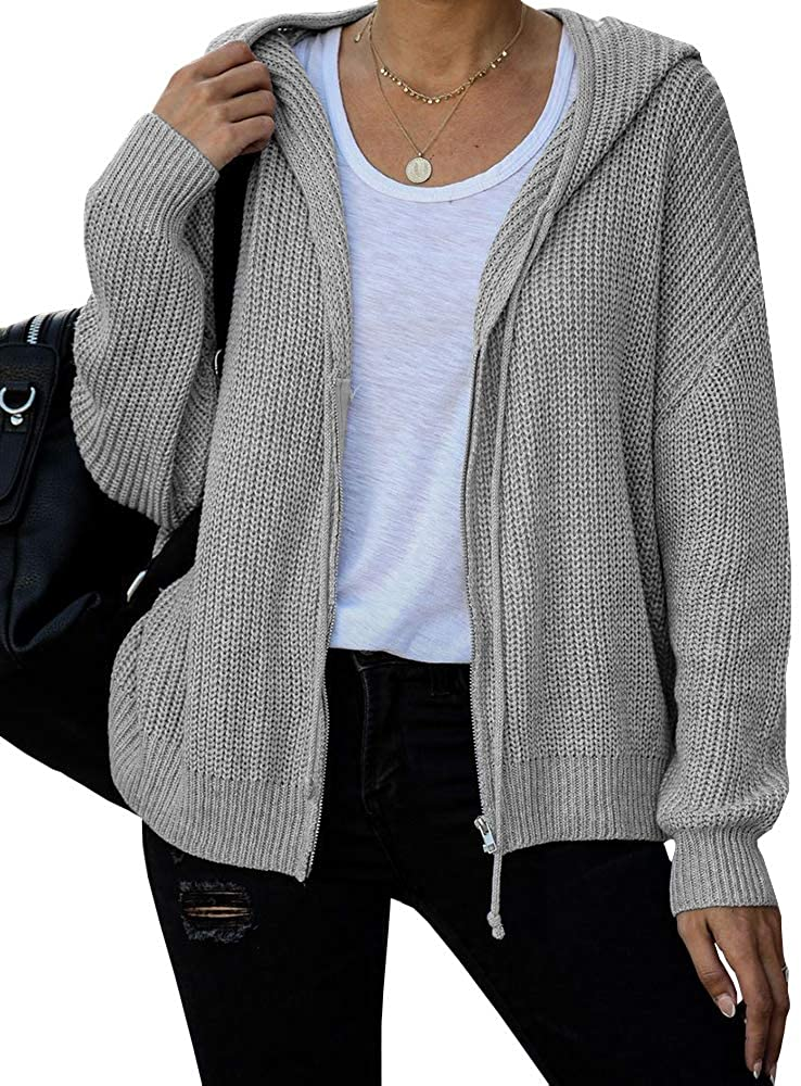 Ferbia Women Hooded Cardigan Sweater Oversized Slouchy Batwing Knit Jacket Zip Up Lightweight Baggy Cute Knitted Coat