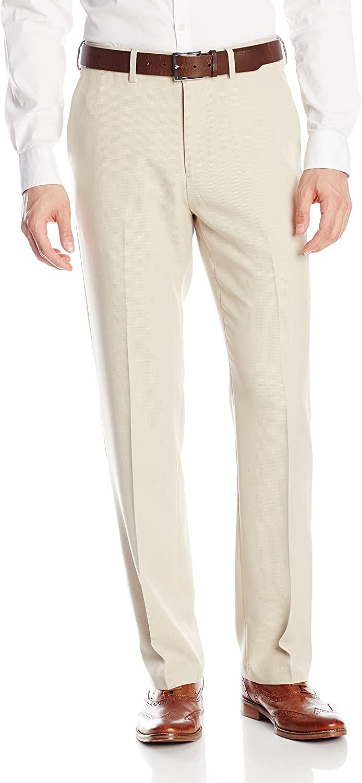 Haggar Mens Micro-Check Plain-Front Pant