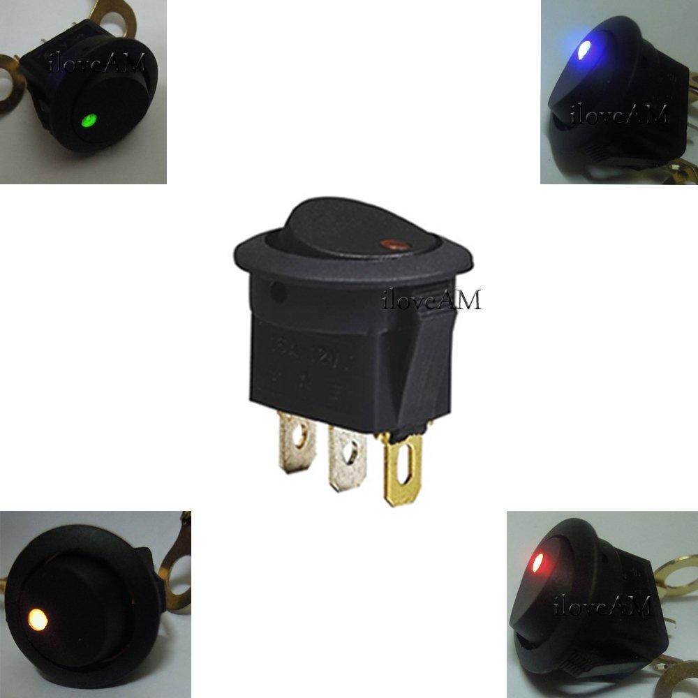 5X Blue+5x Red+5x Green+5X Amber LED Dot Light 12V Car Auto Round Rocker ON/OFF Toggle SPST Switch