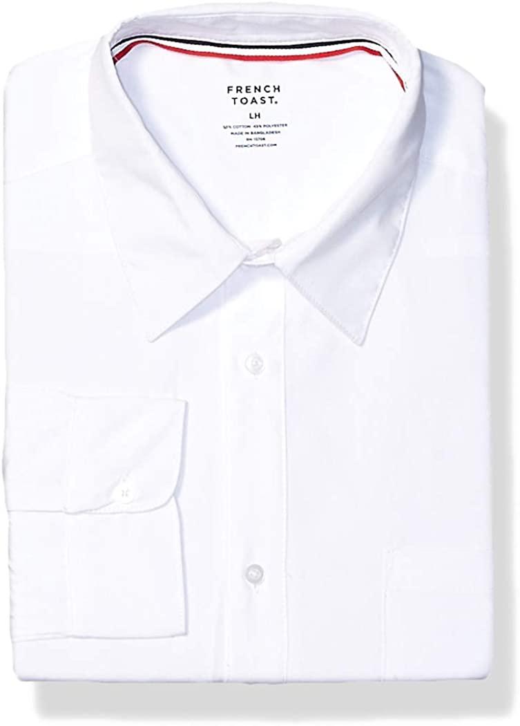 French Toast Boys' Long Sleeve Classic Dress Shirt (Standard & Husky), White, X-Large Husky