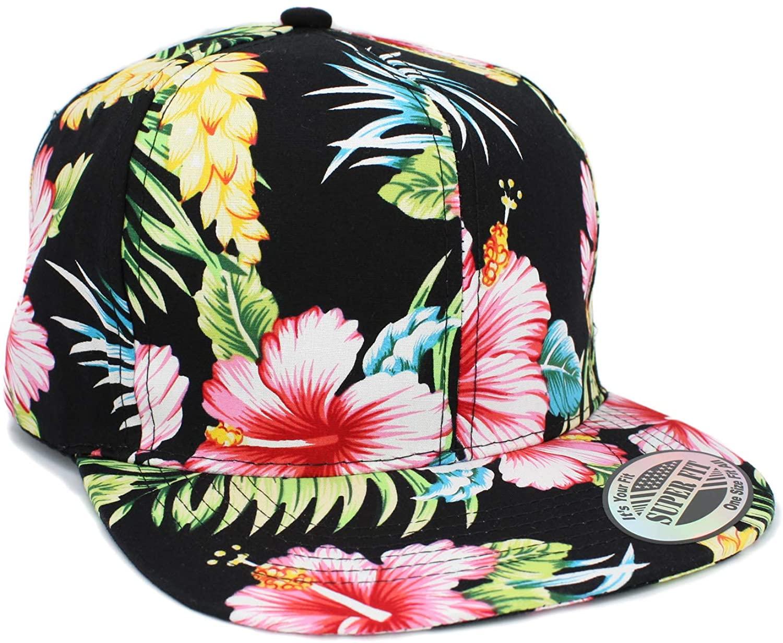LAFSQ Plain Hawaiian Flower Printed Brim Flat Bill Snapback Cap
