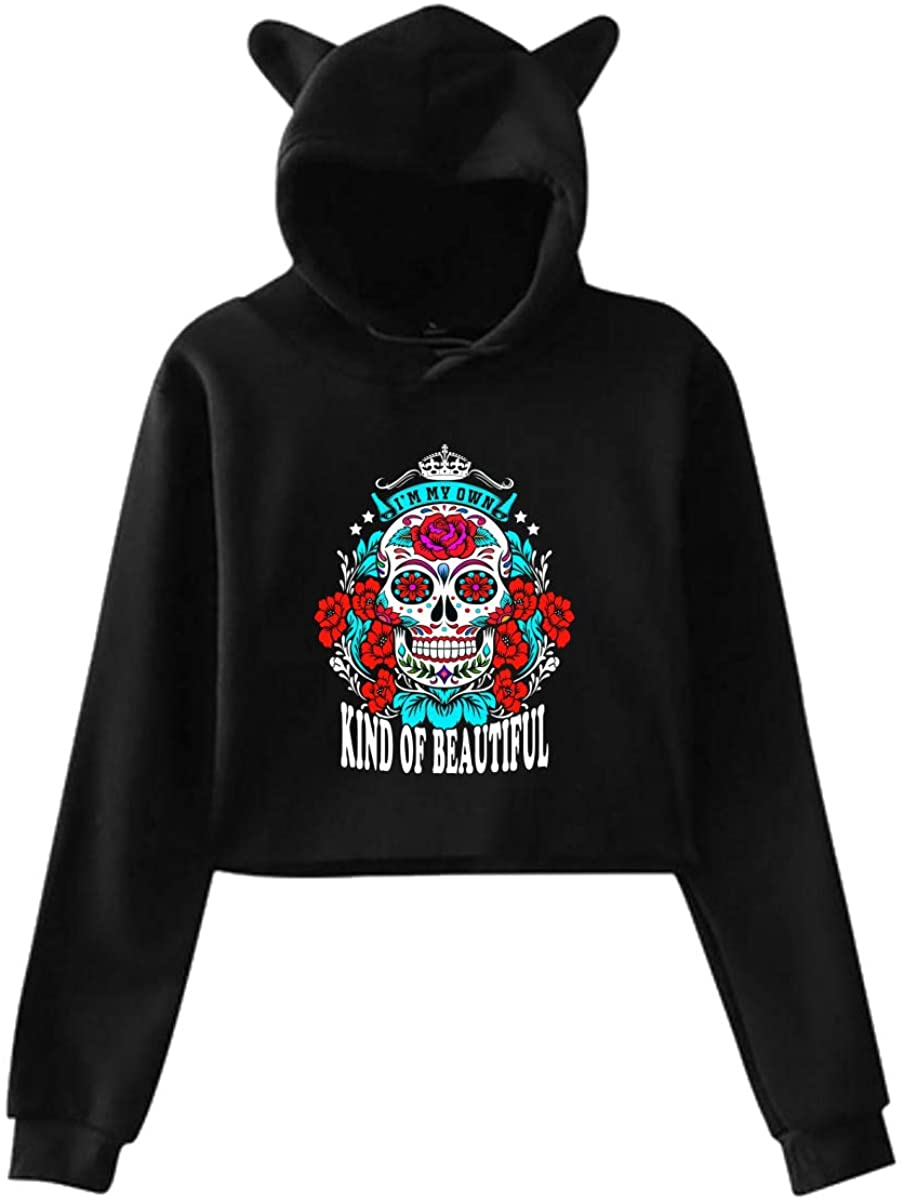 Sugarskulls Cat Ear Lightweight Pullover Hoodie Sweatshirt for Women