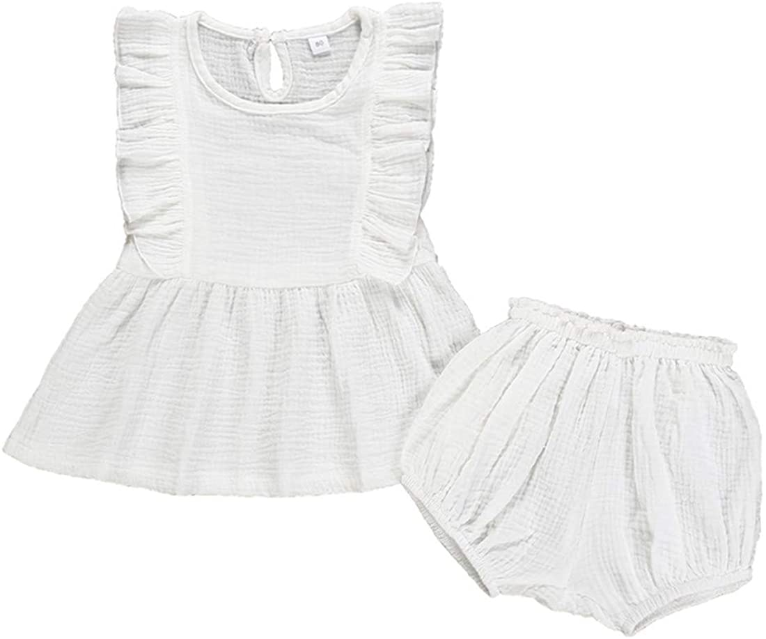 2PCS Toddler Baby Girls Cotton Linen Ruffled Sleeveless ShirtsTops + Shorts Baby Girls Summer Clothes Set