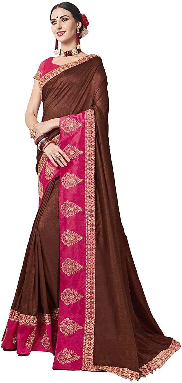 Saree for Women Bollywood Wedding Designer Bichitra,Jeni Silk Sari with Unstitched Blouse.