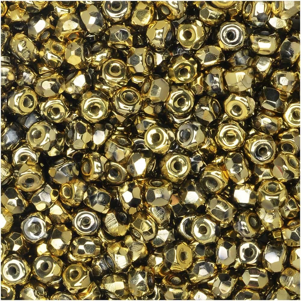 True2 Czech Fire Polished Glass, Faceted Micro Spacer Beads 2x3mm, 100 Pieces, Crystal Full Amber Gold