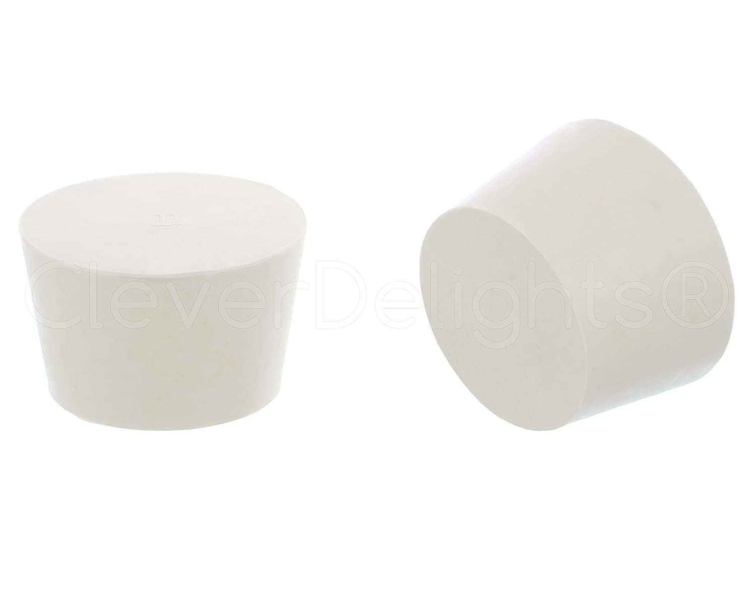 6 Pack - CleverDelights Solid Rubber Stoppers | Size 11 | White - 56mm x 46mm - 34mm Long - Lab Plug #11