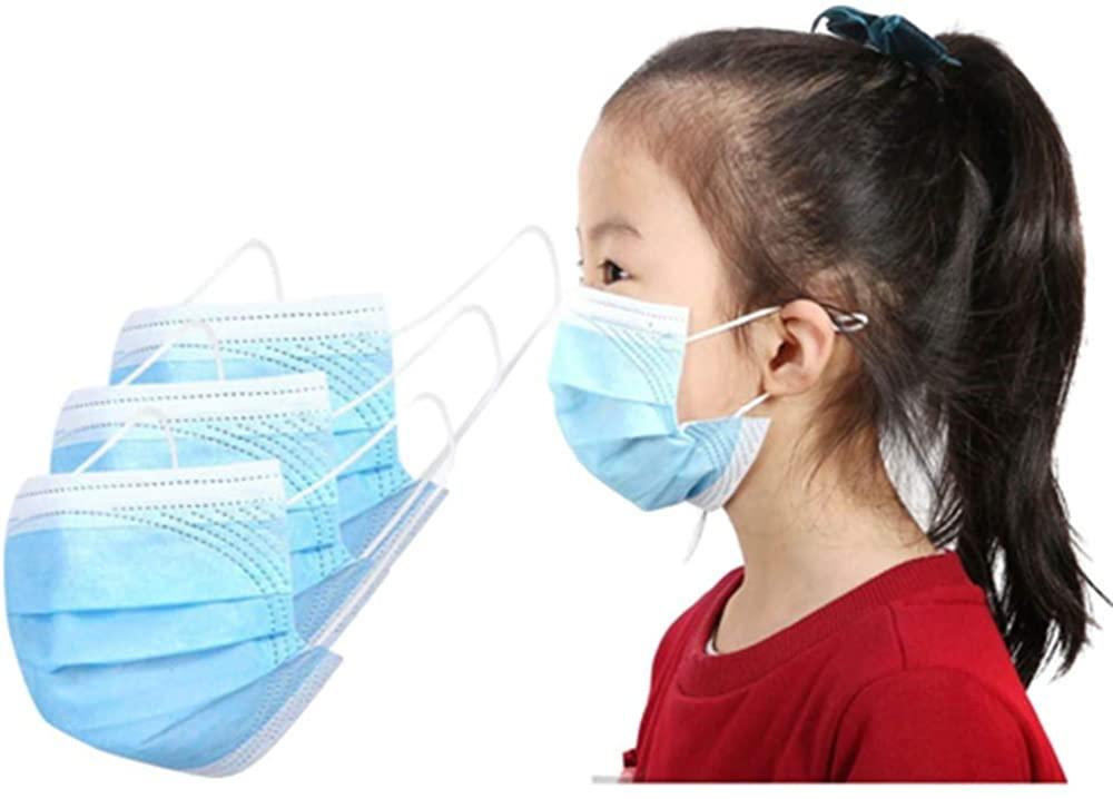 50Pcs Children's Disposable Face Bandanas, 3 Ply Non-Woven, Breathable and Anti-Haze Dust