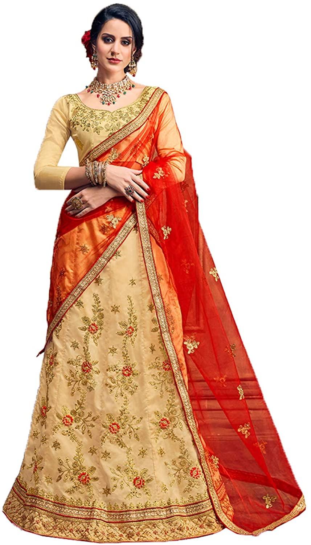 Indian Women Designer Partywear Ethnic Traditional Beige Lehenga Choli.