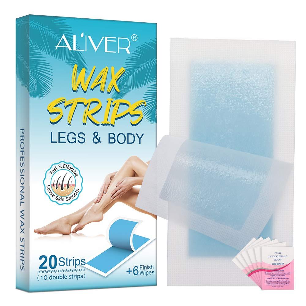 ALIVER Wax Strips, Hair Removal Wax Kit for Arm, Leg, Brazilian, Bikini Women(20 Waxing Strips + 6 finish Wipes)