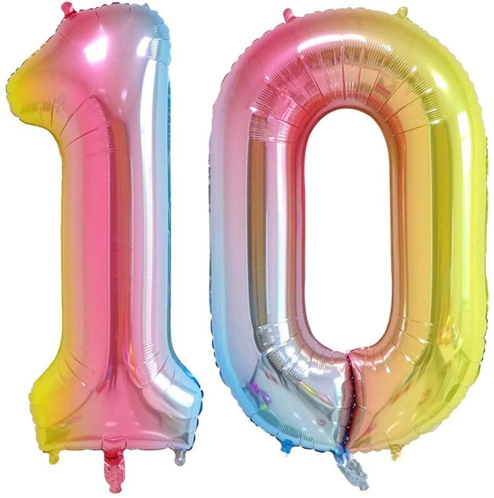 Tellpet Number 10 Balloons, Rainbow, 40 Inch