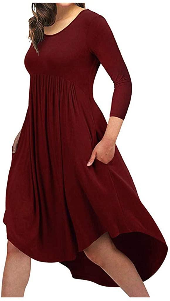 TOTAMALA Dresses for Women Summer Fashion Round Neck 3/4Sleeve Solid Color Irregular Casual Pocket Maxi Dress(S/2XL)