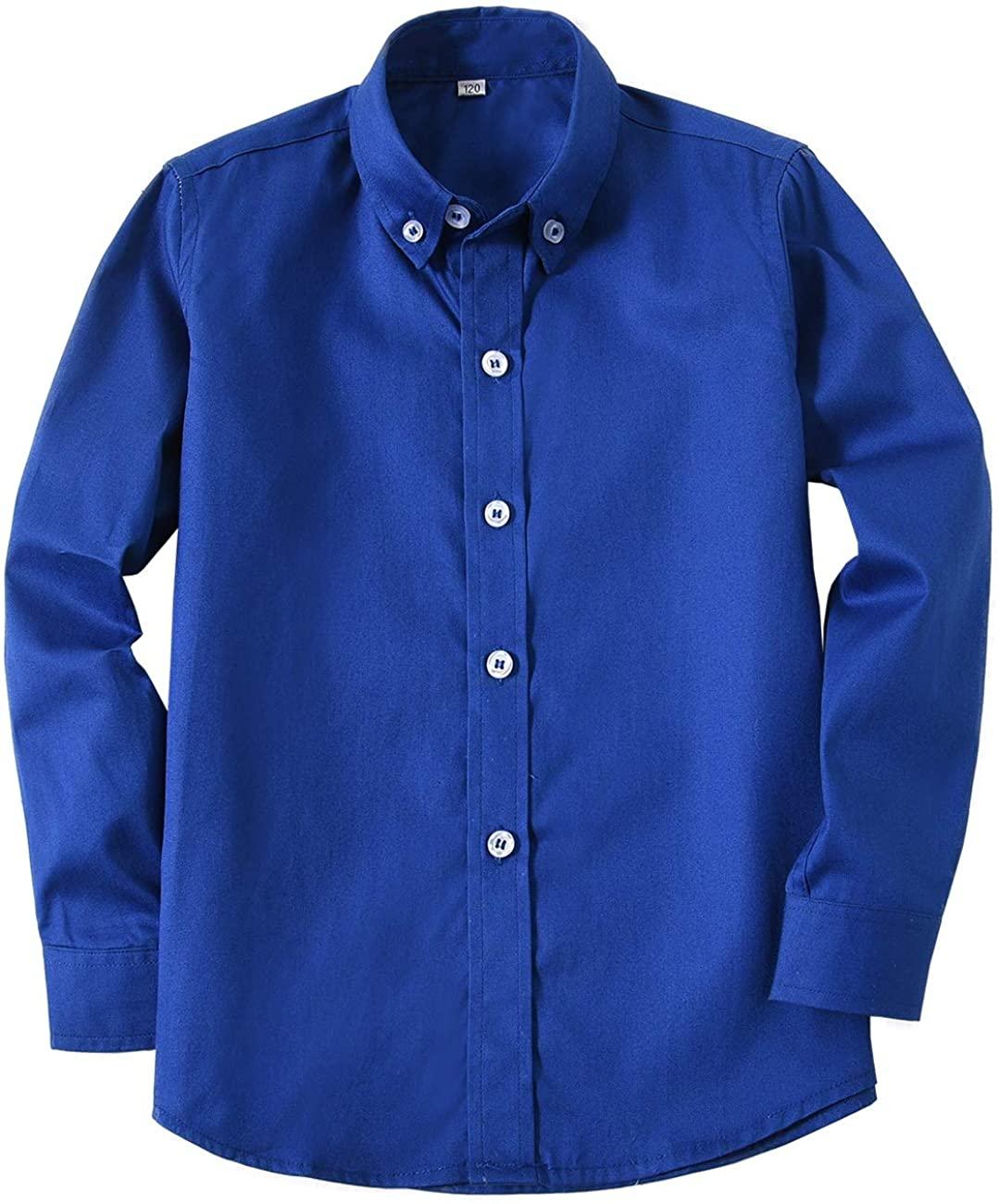 Edooli Boys' Long Sleeve Solid Button Down Dress Shirt