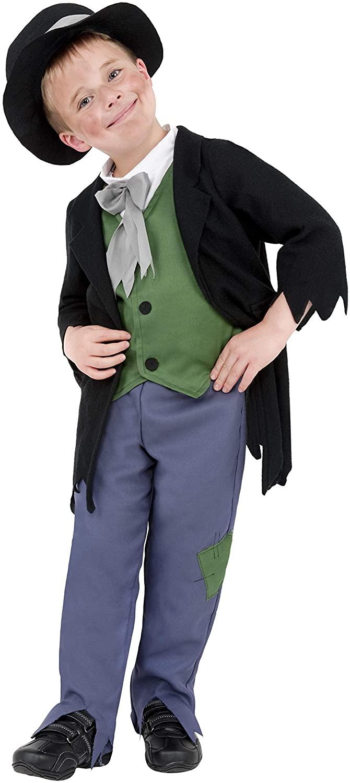 Smiffys 38671L Dodgy Victorian Boy Costume, Black, L - Age 10-12 years