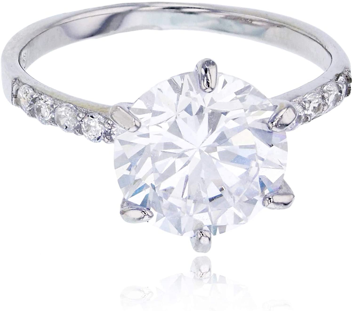 Sterling Silver Rhodium 10mm Round Cut 6-Prong Set Engagement Ring