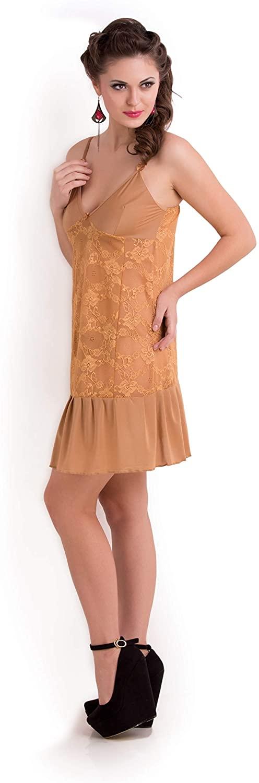 Transy Net Lace Chemise Nightgown Slip Babydoll Sleepwear Dress Lingerie Women Soft Free Size Camisole