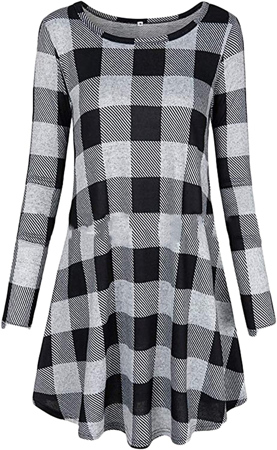 Soluo Women's Casual Loose Long Sleeve Plaid T Shirt Round-Neck Swing Tunic Dress with Pockets