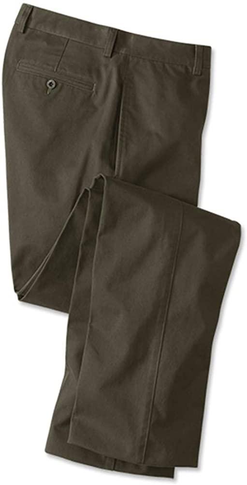 Orvis Men's Ultimate Khakis Trim Fit - Plain Front, Olive, Cuffed
