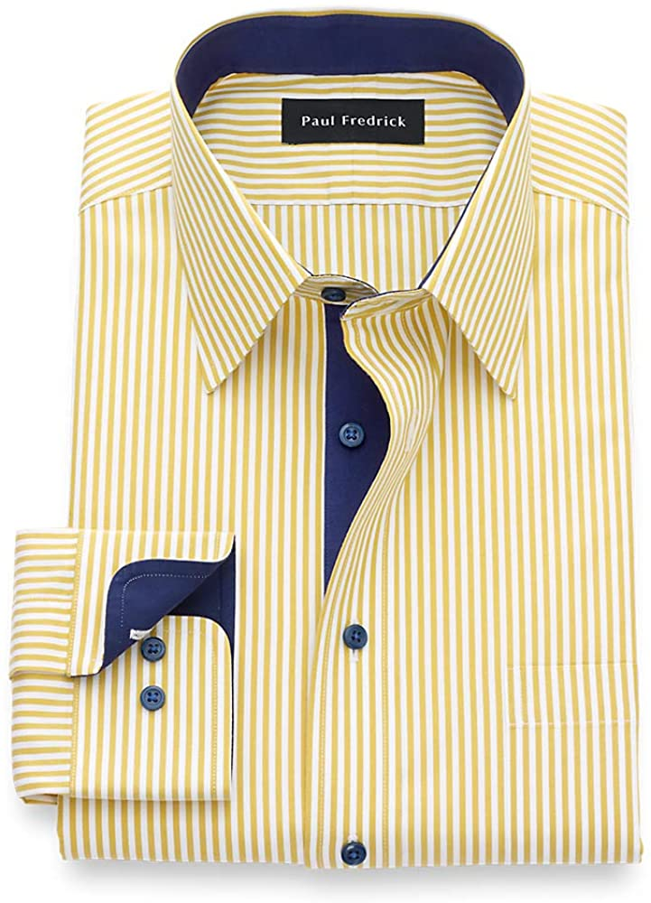 Paul Fredrick Men's T/f Non Iron Two Ply Cotton Bengal Stripe, Point Collar, But