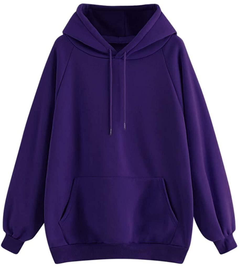 LEKODE Women Tops Solid Hooded Fashion Casual Drawstring Sweatshirt