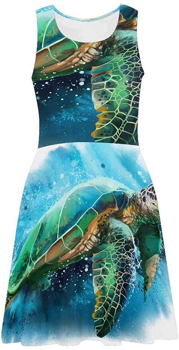 INTERESTPRINT Women's Sleeveless Tank Dresses Avocado Pattern Casual Flared Sundresses