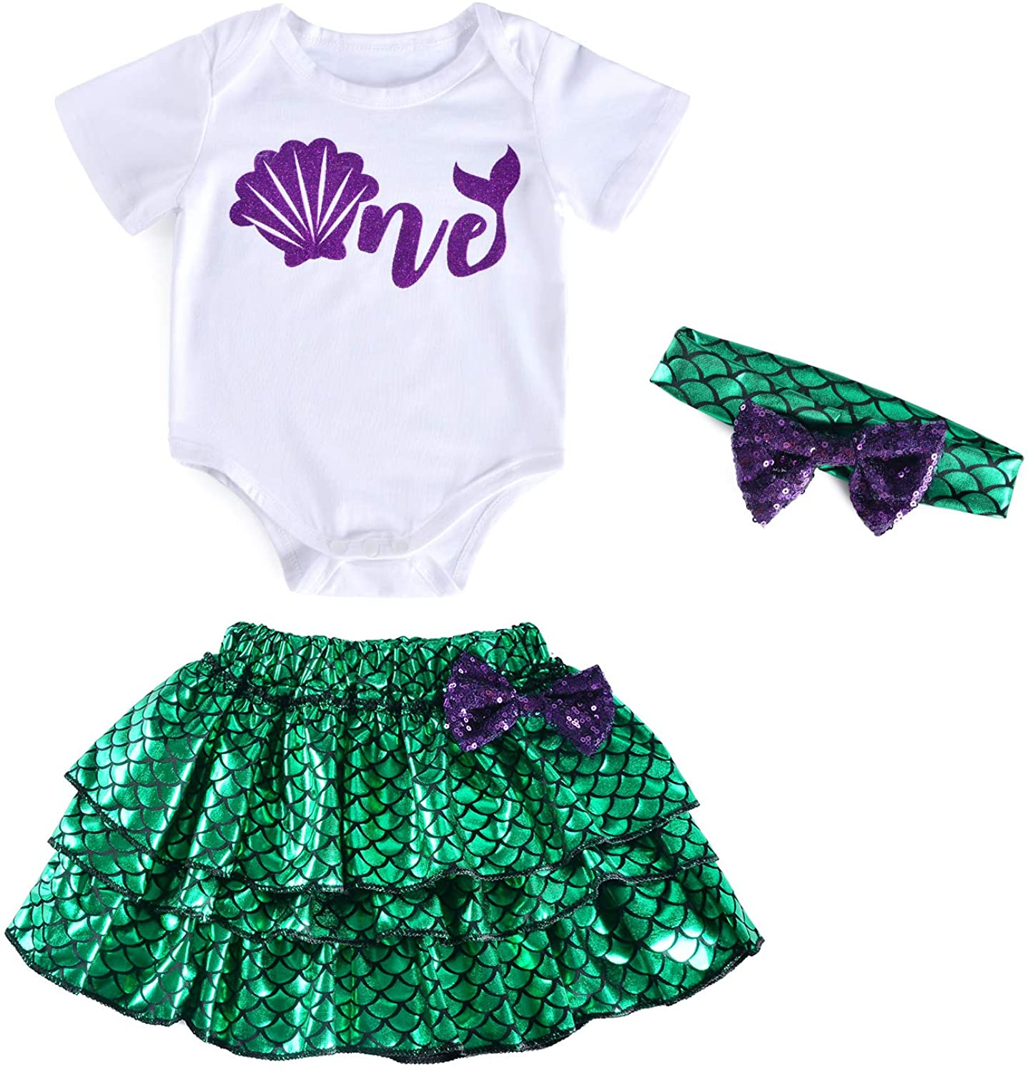 3PCS Toddler Baby Girls Little Mermaid Dress up Skirt Shell Baby Costume With Headband