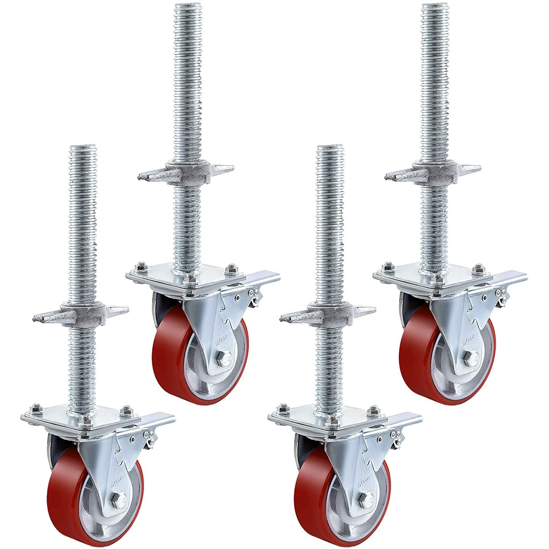 BestEquip 4 Pack 5 Inch Iron Core Polyurethane Swivel Caster with Dual Locking Brake Adjustable Legs 1100LBS Capacity per Wheel