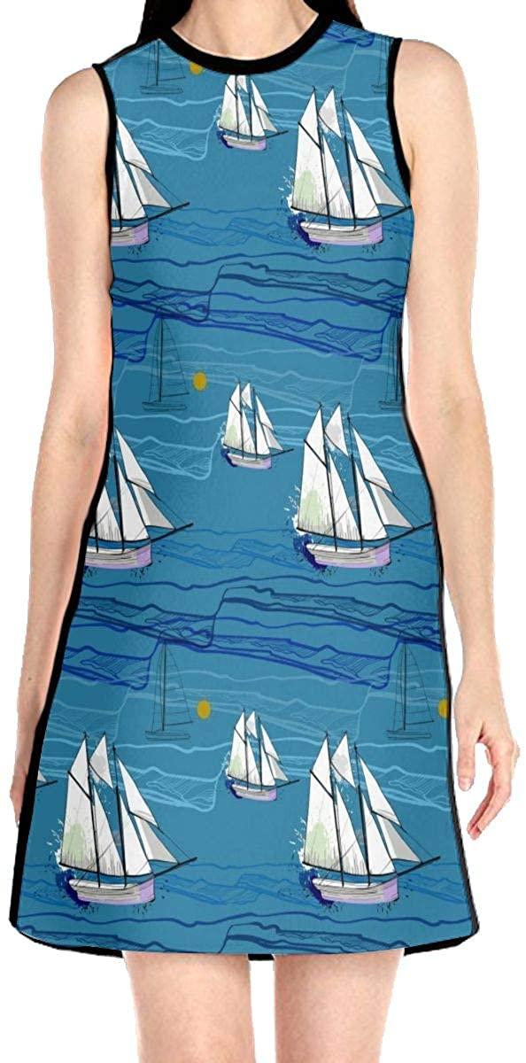 Sailboat Sea Wave Women's Sleeveless Dress Casual Slim A-Line Dress Tank Dresses
