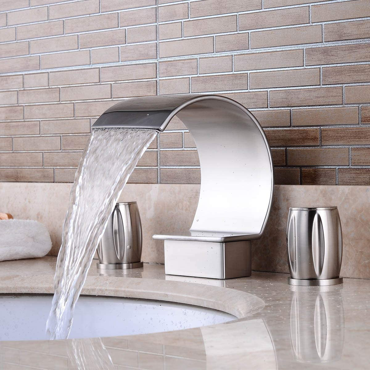 Elegant Nickel Brushed Widespread Waterfall Curved Spout Bathroom Sink Faucet Lavatory Bathtub Faucets Two Handles Three Holes,Brass and Stainless Steel
