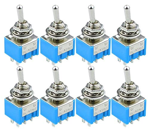 WuLian 10pcs MTS202 Blue Toggle Switch DPDT Double Pole Double Throw 2 Positions ON-ON 125V 6A MTS-202