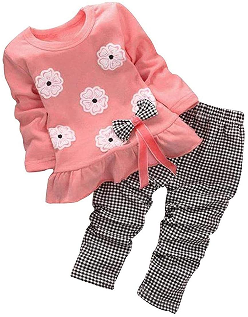 Cute Little Girls 2pcs Outfits Set Infant Toddler Baby Fall Clothes Long Sleeve Bowknot Tops T Shirt and Pants Leggings