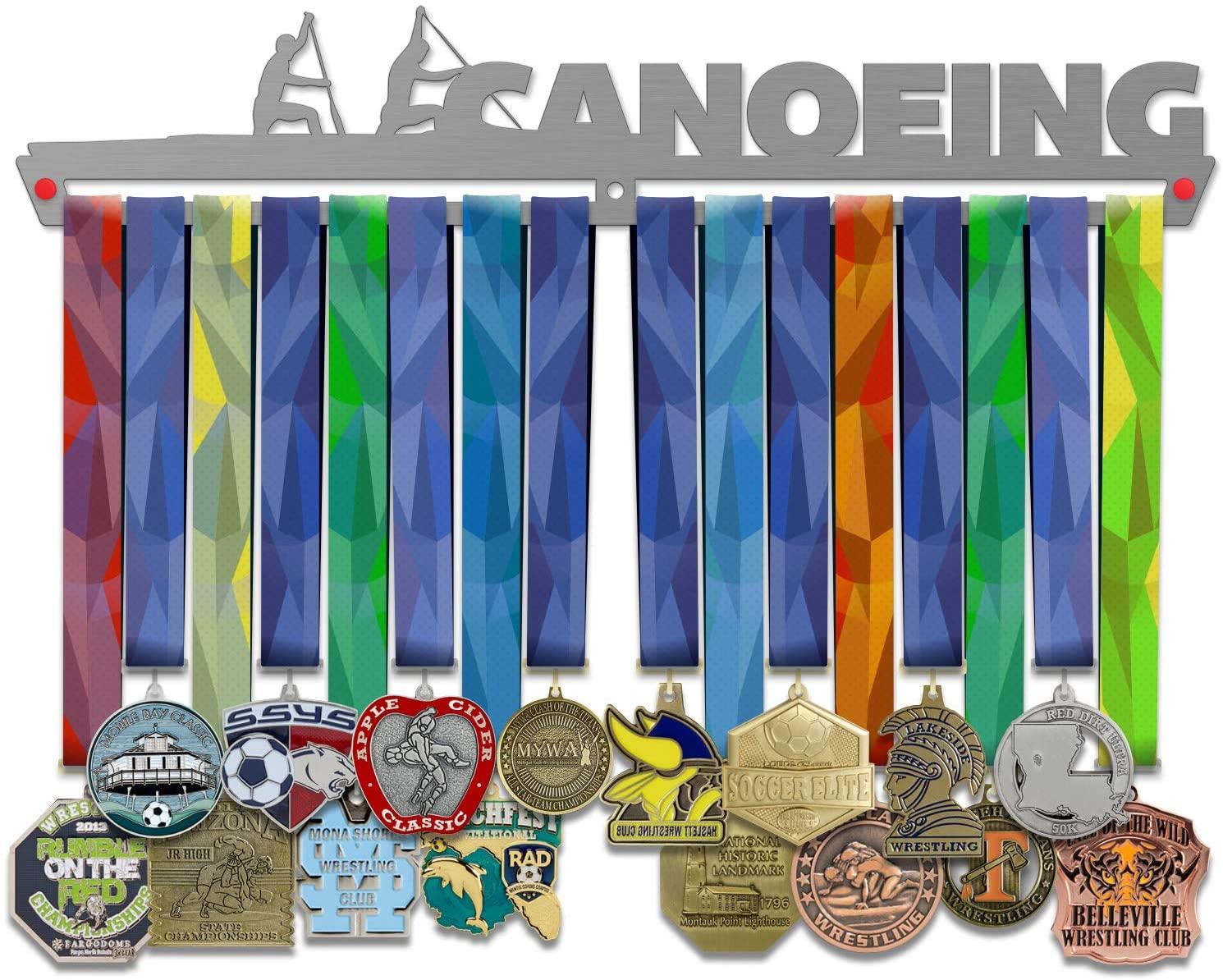 VICTORY HANGERS Canoeing Medal Hanger Display | Sports Medal Holders | Stainless Steel Medal Display