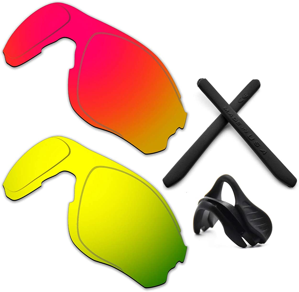 HKUCO Reinforce For Oakley EVZero OO9308 Red/24K Gold Polarized Replacement Lenses And Black Earsocks Rubber Kit And Nose Pads