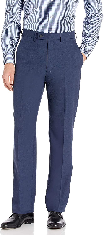 Haggar Men's Expandomatic Dress Stretch Solid Classic Fit Plain Front Pant