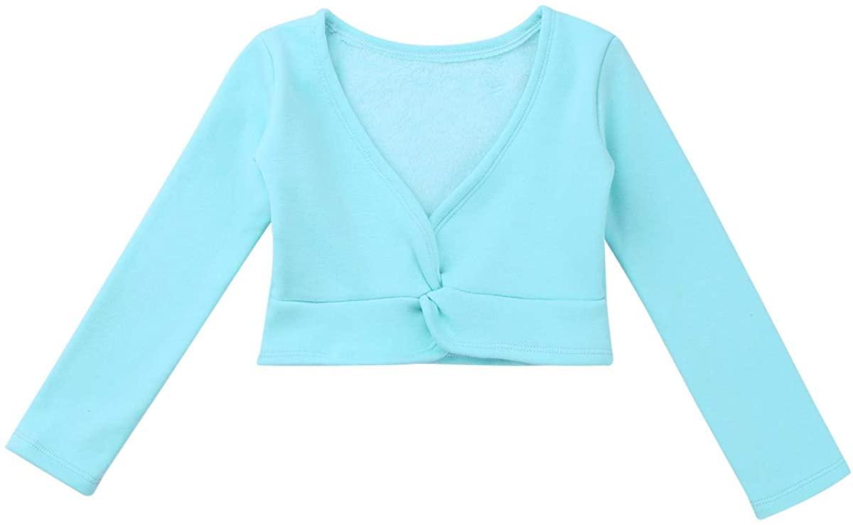 ACSUSS Kids Girls Classic Long Sleeve Ballet Dance Wrap Tops Knit Cardigan Plush Fleece Sweaters