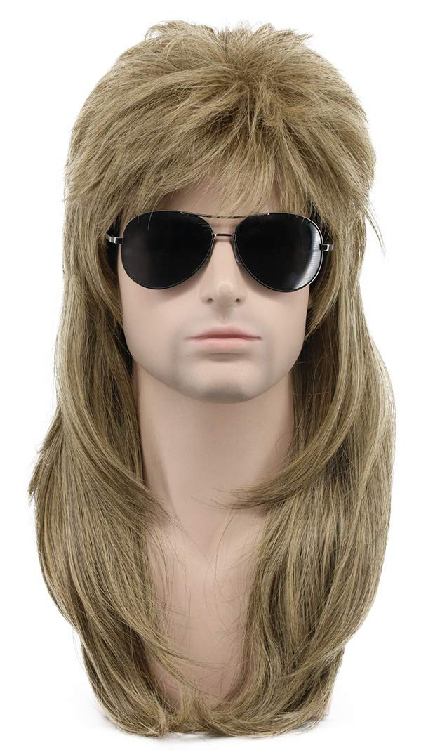 Karlery Long Straight Light Brown 80s Disco Mullet Wig Halloween Costume Wig Cosplay Punk Rock Wig (Brown)