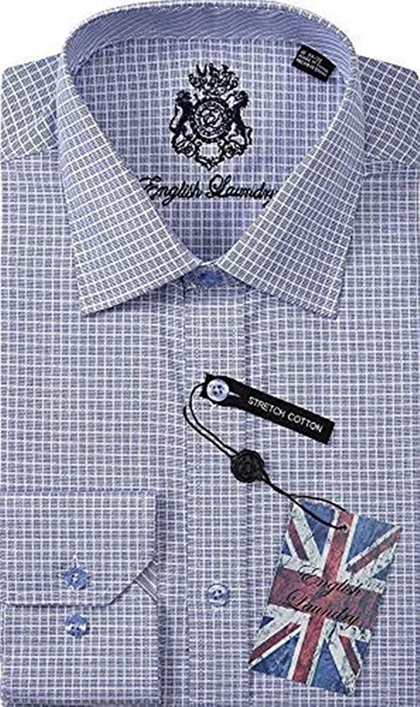 English Laundry Men's Dress Shirt Stretch Cotton, Blue Sky Check, 15.5