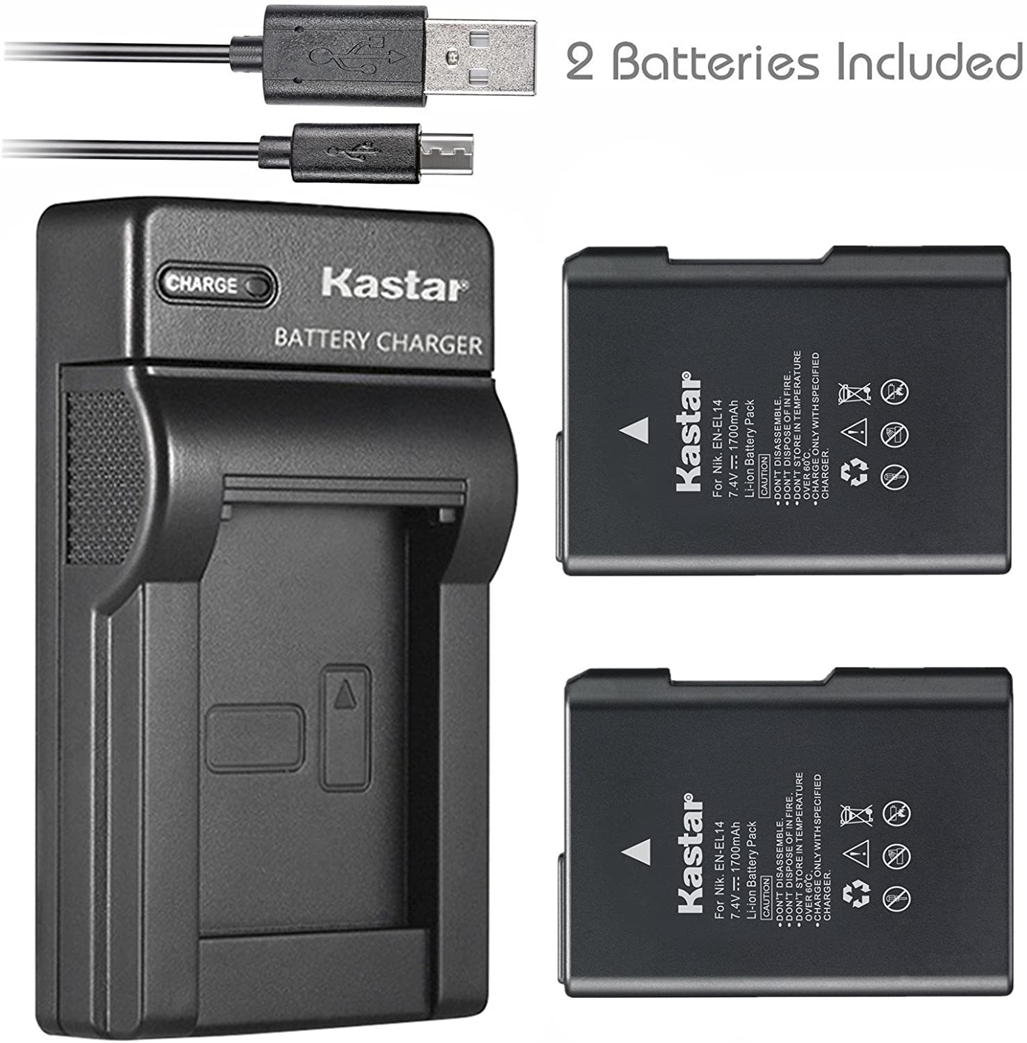 Kastar Battery (X2) & Slim USB Charger for Nikon EN-EL14, EN-EL14a, ENEL14, MH-24 and Nikon Coolpix P7000 P7100 P7700 P7800, D3100, D3200, D3300, D3400, D5100, D5200, D5300 DSLR, Df DSLR, D5600 Camera